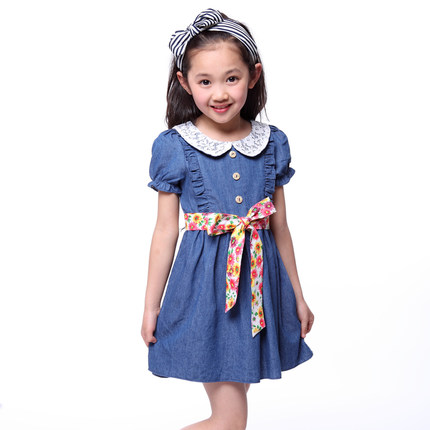 270ec6ddfeb5 The new children s clothing girls summer 2014 children aged denim dress 3-4 -5