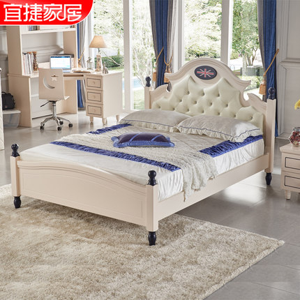 Yi Jie home boy child bed wood bed 1.5 m Prince Bed Continental Suite wood bed children's furniture